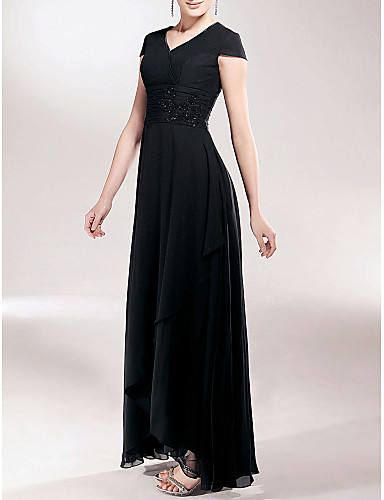 7a1e0ef1b8 Sheath   Column V Neck Asymmetrical Chiffon Mother of the Bride Dress with  Beading   Appliques   Ruched by LAN TING BRIDE®