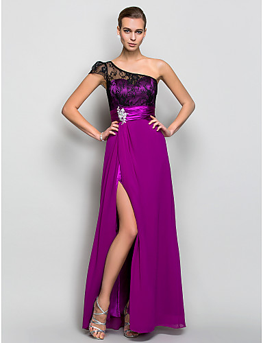 A-Line One Shoulder Floor Length Georgette Formal Evening / Military Ball Dress with Crystal Detailing Lace Ruched by TS Couture®