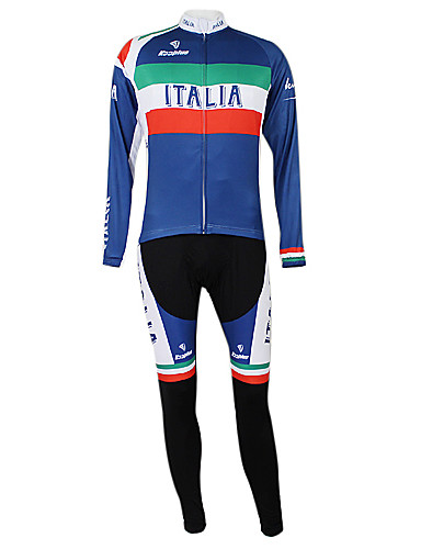 cheap Cycling Clothing-Malciklo Unisex Long Sleeve Cycling Jersey with Bib Tights Italy Champion National Flag Bike Clothing Suit Windproof Quick Dry Waterproof Zipper Sports Polyester Elastane Mountain Bike MTB Road Bike
