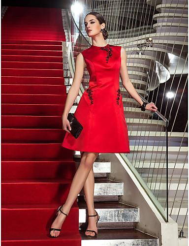 Linia -A Bijuterie Lungime Genunchi Satin Petrecere Cocktail Rochie cu Mărgele / Aplică de TS Couture®