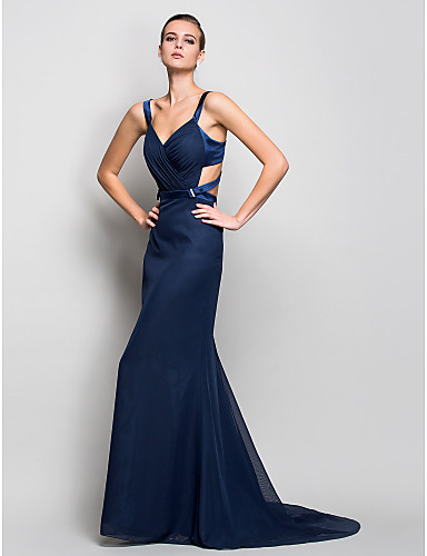 Mermaid / Trumpet Straps Sweep / Brush Train Chiffon Formal Evening / Military Ball Dress with Side Draping by TS Couture®
