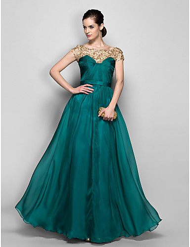 A-Line Illusion Neckline Floor Length Chiffon Formal Evening / Military Ball Dress with Lace Criss Cross by TS Couture®