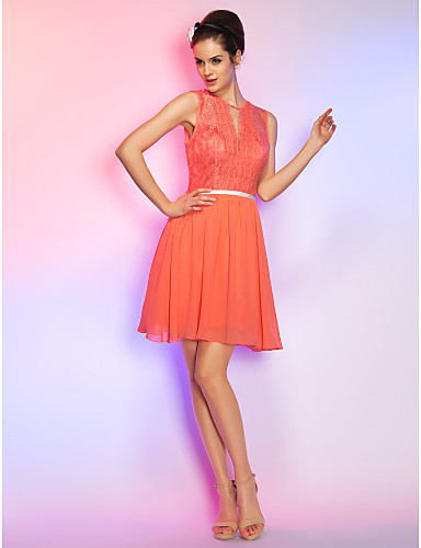 A-Line Illusion Neckline Short / Mini Chiffon Lace Cocktail Party / Homecoming / Holiday Dress with Lace by TS Couture®