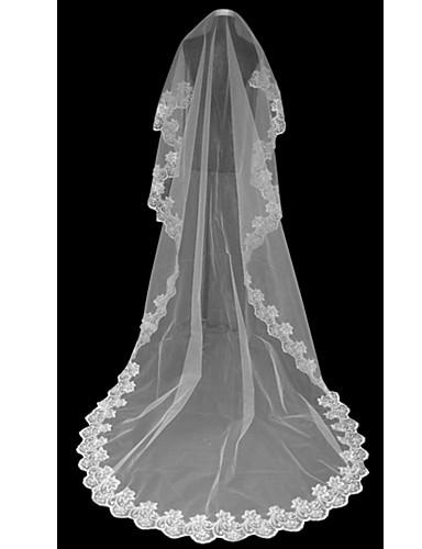 Einschichtig Spitzen-Saum Hochzeitsschleier Kathedralen Schleier Mit 118,11 in (300cm) Tüll