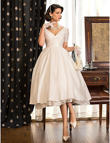 ff3182eb05d8 A-Line V Neck Tea Length Taffeta Made-To-Measure Wedding Dresses with Lace  / Criss Cross by LAN TING BRIDE® / Little White Dress / Little White Dress