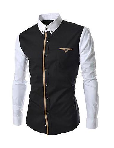 Pánské - Patchwork Business Na běžné nošení Košile, Formální styl Bavlna Límeček s knoflíkem Štíhlý Černá a Bílá