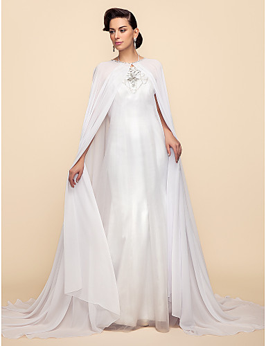 Long Sleeve Chiffon / Lace Wedding / Party Evening Wedding  Wraps / Hoods & Ponchos With Capes