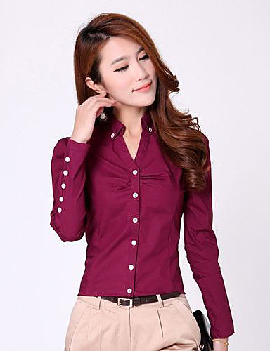 eb5774206fb3b Women s Casual Plus Size Cotton Shirt - Solid Colored Shirt Collar   Spring    Summer