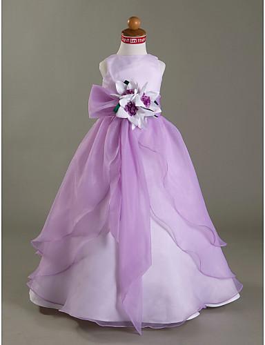 Βραδινή τουαλέτα Μακρύ Φόρεμα για Κοριτσάκι Λουλουδιών - Οργάντζα / Σατέν Αμάνικο Bateau Neck με Ζώνη / Κορδέλα / Με Άνοιγμα Μπροστά / Λουλούδι με LAN TING BRIDE® / Άνοιξη / Φθινόπωρο / Χειμώνας