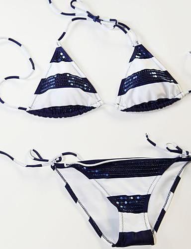 Žene Prugasti uzorak Na vezanje oko vrata Bikini Kupaći kostimi Mértani Zelen Plava Pink