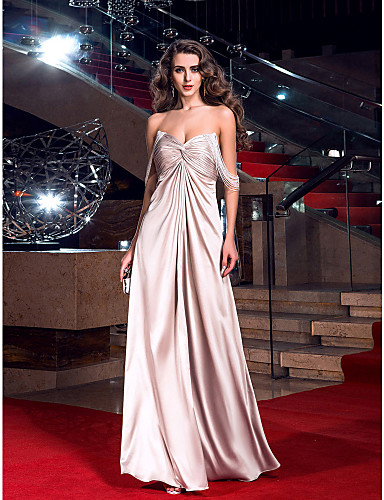 Sheath / Column Sweetheart Floor Length Stretch Satin Prom Dress with Criss Cross by TS Couture®