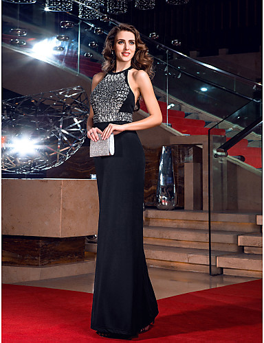 Sheath / Column Jewel Neck Floor Length Jersey Prom / Formal Evening / Military Ball Dress with Crystal Detailing by TS Couture®