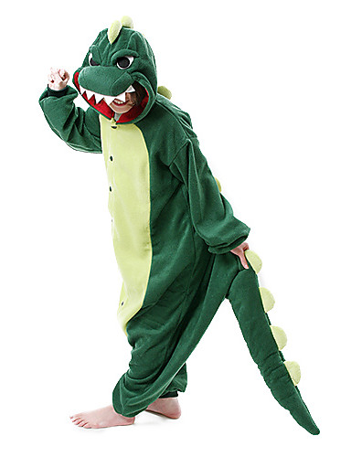 cheap Sale-Adults' Kigurumi Pajamas Dinosaur Monster Onesie Pajamas Polar Fleece Dark Green Cosplay For Men and Women Animal Sleepwear Cartoon Festival / Holiday Costumes