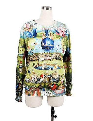 Kvinders O-hals Loose Casual Print langærmet Sweatshirts