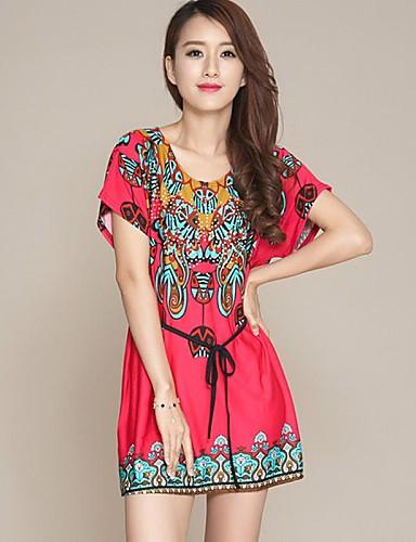 Dámské Denní Mini Šaty, Tisk Krátký rukáv