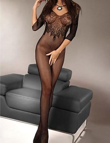Pentru femei Ultra Sexy Pijamale Nailon Mată Negru