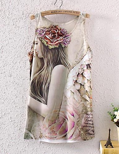 Vrouwen Lente / Zomer / Herfst Singlet Print Ronde hals Mouwloos Polyester Ondoorzichtig