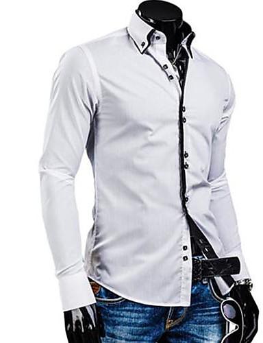 preiswerte Herrenhemden-Herrn Solide - Geschäftlich Baumwolle Hemd, Umlegekragen Schlank Grün XL / Langarm / Frühling / Herbst / Arbeit
