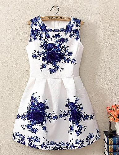 kvinders ærmeløs porcelæn trykt kjole