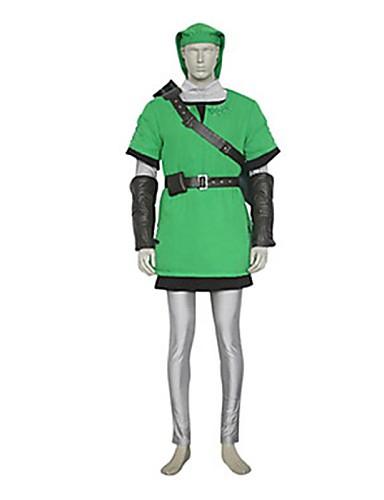 halpa Videopeli-asut-Innoittamana The Legend of Zelda Link Video Peli Cosplay-asut Cosplay Puvut Patchwork Liivi Toppi Housut Puvut