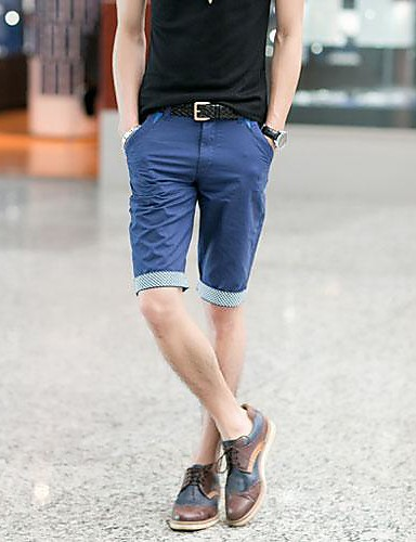Devoto Per Uomo Classico Pantaloncini Pantaloni - Tinta Unita - Tinta Unica Azzurro Chiaro #01862448