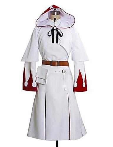 cheap Videogame Cosplay-Inspired by Final Fantasy White Mage Video Game Cosplay Costumes Cosplay Suits Print Long Sleeve Dress Shawl Belt Costumes