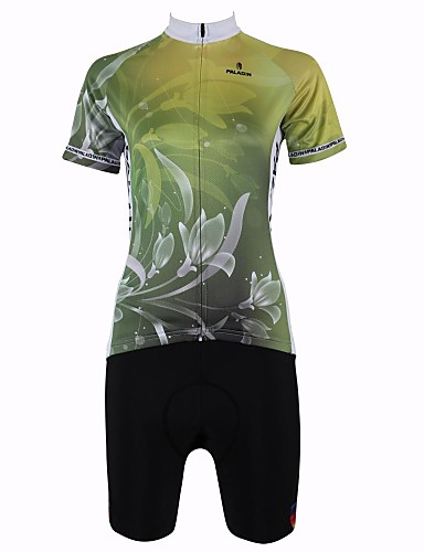 cheap Cycling Clothing-ILPALADINO Women's Short Sleeve Cycling Jersey with Shorts - Mineral Green Floral Botanical Plus Size Bike Shorts Jersey Clothing Suit Breathable Quick Dry Back Pocket Sports Floral Botanical