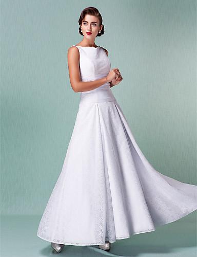 Linia -A Bateau Neck Lungime Gleznă Dantelă Peste Tot Made-To-Measure rochii de mireasa cu Pliuri de LAN TING BRIDE® / Mica Rochie Albă
