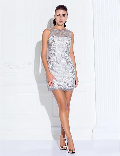 A-Linie Prinzessin Illusionsausschnitt Kurz / Mini Stretch - Satin Abschlussball / Abiball Kleid mit durch TS Couture®
