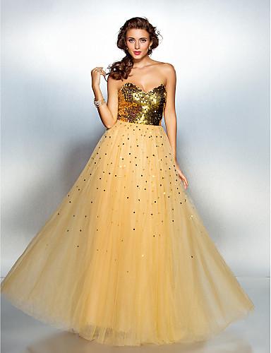 A-Şekilli Kalp Yaka Yere Kadar Tül Payetli Payet ile Balo / Resmi Akşam Elbise tarafından TS Couture®