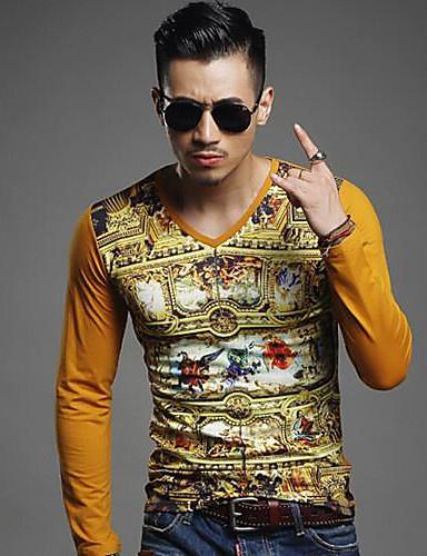 Aspirante T-shirt Per Uomo Classico Con Stampe, Multicolor Giallo - Manica Lunga #02191568 Aspetto Estetico