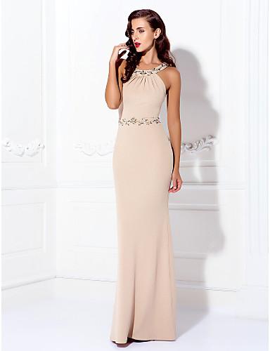 Eng anliegend Schmuck Boden-Länge Jersey Abiball / Formeller Abend Kleid mit Perlenstickerei Kristall Verzierung durch TS Couture®