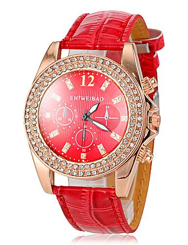 Damen Quartz Armbanduhr Imitation Diamant Leder Band Glanz Freizeit Simulierte Diamant-Uhr Rot