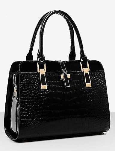 povoljno Elegantne ženske torbice-Žene Patent Leather Torba s ručkom Jednobojni Crn / Lila-roza / Plava