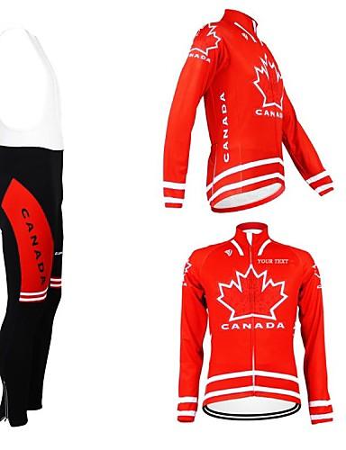 voordelige Aangepaste wielrenkleding-Aangepaste wielrenkleding Heren Dames Lange mouw Wielrenshirt met strakke wielrenbroek Canada Nationale vlag Fietsen Shirt Sportoutfits Houd Warm Fleece voering Ademend Waterdichte Rits Reflecterende