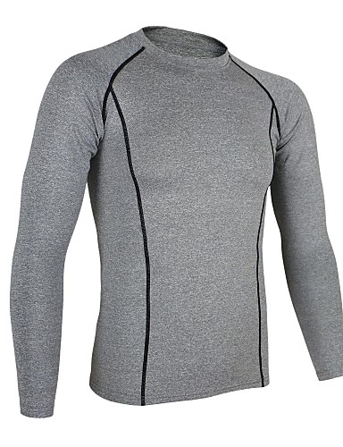 cheap Cycling Clothing-Arsuxeo Men's Long Sleeve Cycling Jersey Navy Blue Light Grey Light Green Bike Base layer Jersey Compression Clothing Breathable Quick Dry Anatomic Design Sports Winter Polyester Elastane Mountain