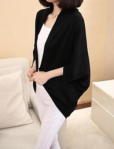 Dames Normaal Cloak / Capes Effen-Zwart Grijs Lange mouw Katoen Lente Herfst Medium Micro-elastisch