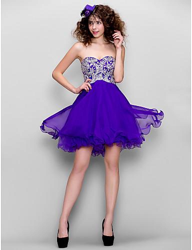 A-Linie Sweetheart Kurz / Mini Chiffon Cocktailparty Kleid mit Perlenstickerei durch TS Couture®