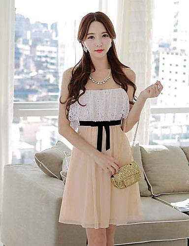 Pink Doll® Women's Off the Shoulder Piping Lace Chiffon Dress