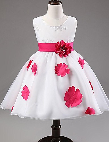 Ball Gown / Princess Knee Length Flower Girl Dress - Satin / Tulle Sleeveless Jewel Neck with Bow(s) / Pattern / Print / Sash / Ribbon by