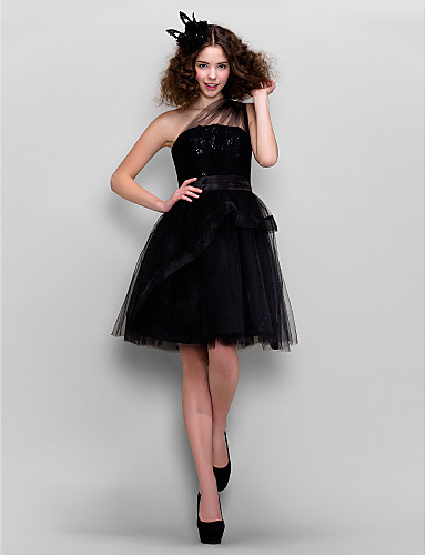 A-Line Princess One Shoulder Knee Length Tulle Cocktail Party Homecoming Prom Dress with Sequin Lace by TS Couture®