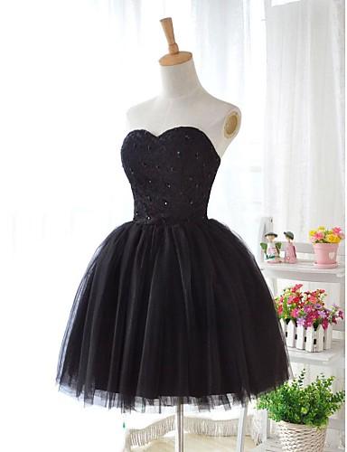 Bal jurk liefste knie lengte kant tule bruidsmeisje jurk met kant pailletten