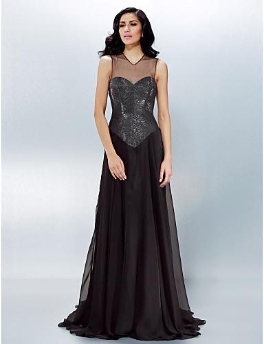 a68e807aedc Formal Evening Dress - Black Plus Sizes   Petite A-line V-neck Court ...