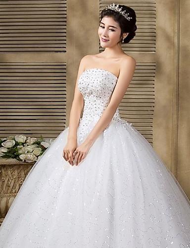 vestido de boda corte evasé/corte princesa sin tirantes hasta el