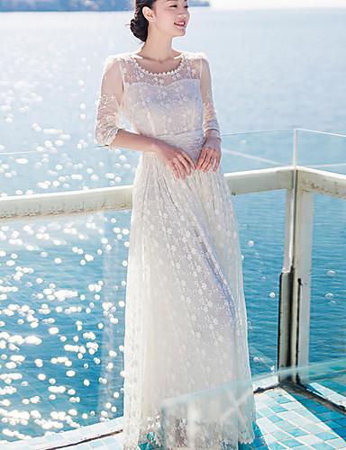 kobiet moda elegancka koronkowa sukienka maxi długa słońce