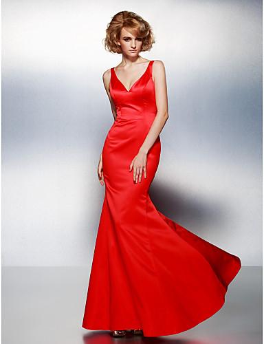 Trompete / Meerjungfrau V-Ausschnitt Boden-Länge Satin Abiball / Formeller Abend Kleid mit Plissee durch TS Couture®
