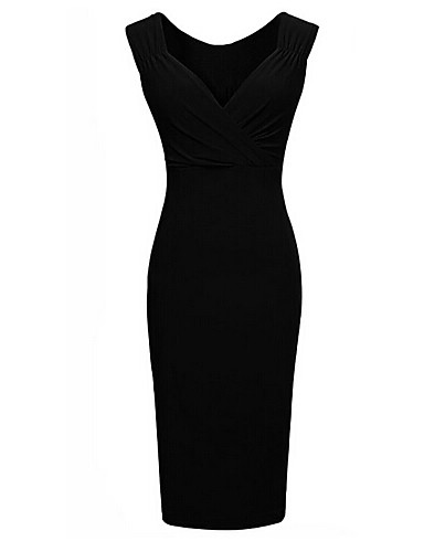 Women's Work Basic Slim Sheath Dress - Solid Colored V Neck