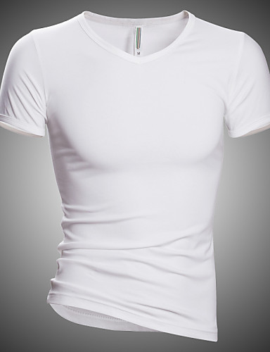 Homens Camiseta Activo Moda de Rua Fashion Estampado, Sólido Carta e Número Algodão Decote V