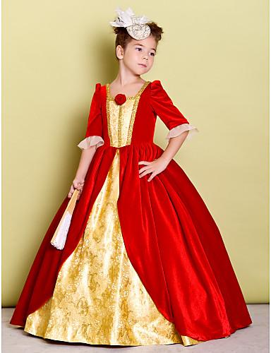 A-line podea lungime floare fata rochie - catifea jumătate mâneci gât pătrat cu floare de lan ting bride®