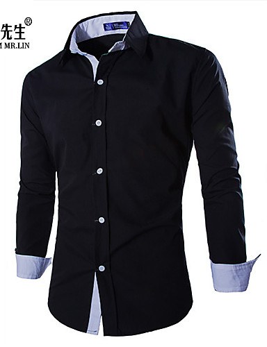 65746422a666 Men's Classic & Timeless Shirt - Solid Colored Pure Color Black L / Long  Sleeve
